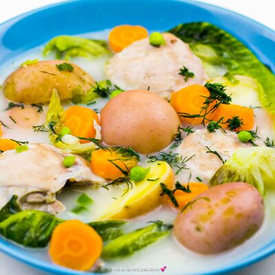 Healthy and easy to make Chicken Casserole with Romaine Lettuce looking extra colorful
