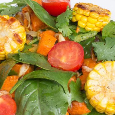 Salad with Roasted Sweet Potato, Tomato, Corn Featured Image