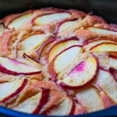 Crispy Golden Cake with Peaches