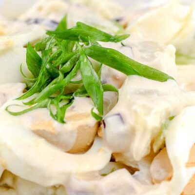 Closeup on the Classic Potato Salad Recipe served in a big white bowl